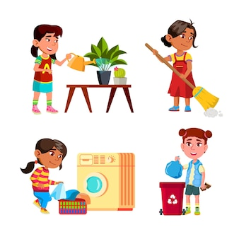 Meninas crianças limpeza e fazendo trabalho doméstico set vector. mocinhas regando plantas caseiras e limpando o chão, lavando roupas na máquina de lavar e joga fora o lixo. personagens plana ilustrações de desenho animado