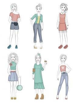 Meninas da moda, femininos jovens modelos em pé posando com itens de guarda-roupa elegante personagens s
