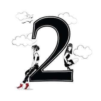 Meninas da moda no estilo de desenho com o número dois. ilustração vetorial.