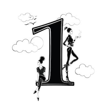 Meninas da moda no estilo de desenho com o número um. ilustração vetorial.
