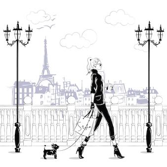Meninas da moda no estilo de desenho em paris. retrato de mulher moda.