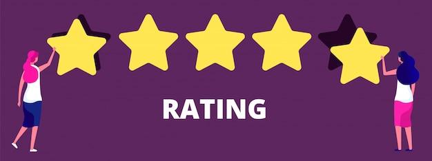 Meninas dando classificação de cinco estrelas. melhor qualidade de trabalho, feedback ou conceito de vetor de classificação