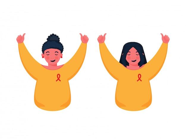 Meninas de conscientização do dia mundial da aids usam fita vermelha no peito com mostrando os polegares para cima.