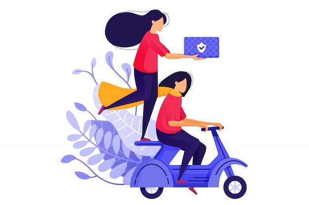 Meninas de correio entregando mercadorias ou logística em scooters