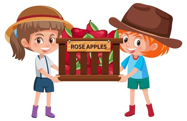 Meninas de crianças com frutas ou vegetais em fundo branco