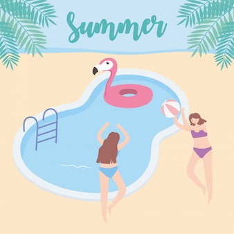 Meninas de horário de verão com bóia e bola no turismo de férias de piscina