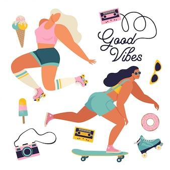 Meninas de patins com toca-discos dançando na ilustração de rua em vetor. cartaz de conceito de poder de garota com dança de citação de texto inspirador, querida.