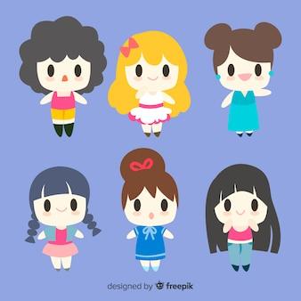Meninas de sorriso de kawaii embalam