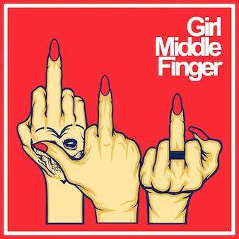 Meninas dedo vector