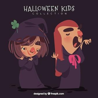 Meninas desenhadas a mão com trajes de halloween