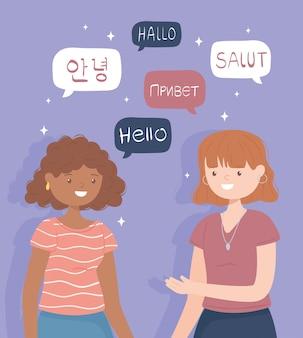 Meninas dizendo olá