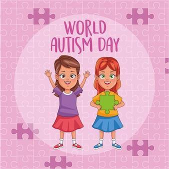 Meninas do dia mundial do autismo com peças de quebra-cabeça vector design ilustração