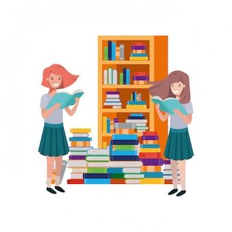 Meninas do estudante com livro de leitura nas mãos