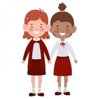 Meninas do estudante em pé sorrindo