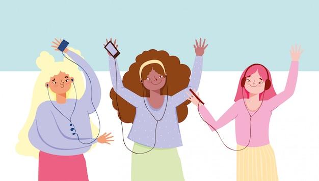 Meninas do grupo com fones de ouvido dançando e ouvindo música