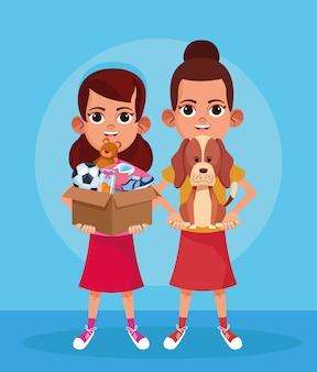 Meninas dos desenhos animados com cachorro fofo e caixa com materiais de doação sobre azul