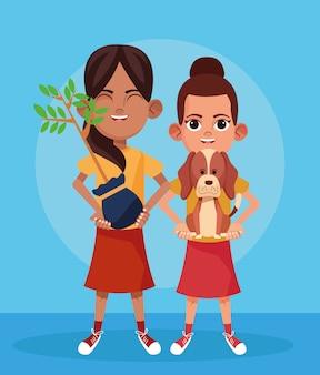 Meninas dos desenhos animados com planta e cachorro fofo, design colorido
