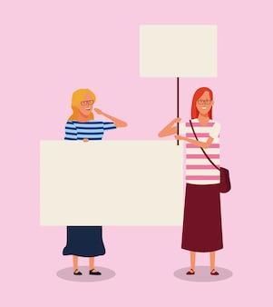 Meninas dos desenhos animados, protestando com letreiro em branco