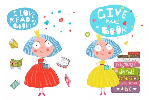 Meninas e livros lendo desenhos animados
