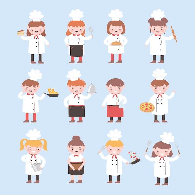 Meninas e meninos chefs de personagens de desenhos animados cozinham comida deliciosa