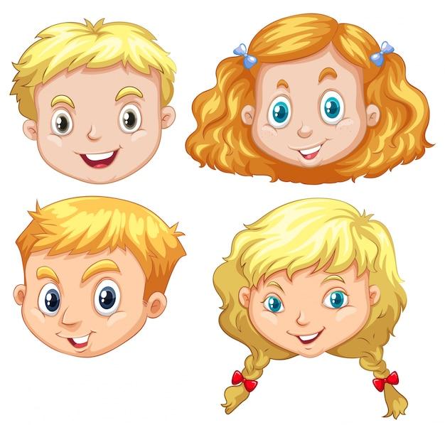 Meninas e meninos com ilustração do cabelo loiro