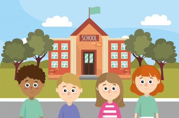 Meninas e meninos crianças de volta shool educação