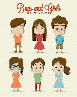 Meninas e meninos do moderno design de personagens