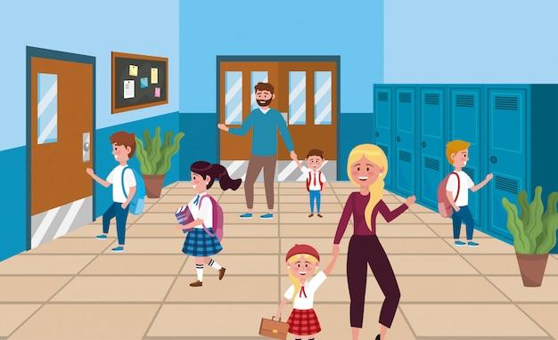 Meninas e meninos estudantes com armário e mãe com pai