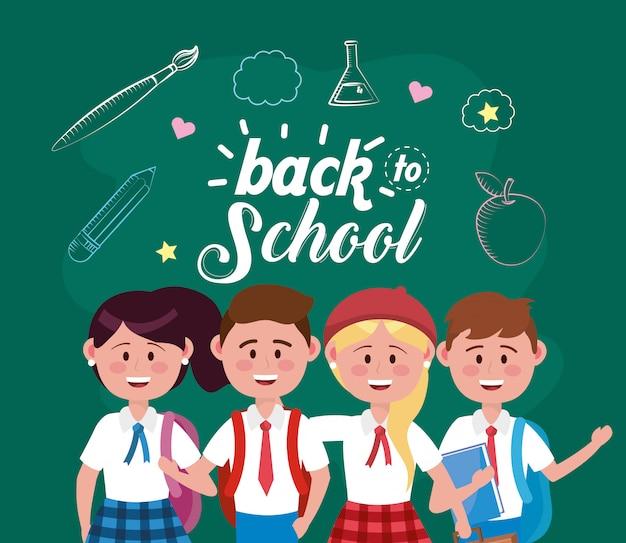 Meninas e meninos estudantes com mochila e lápis