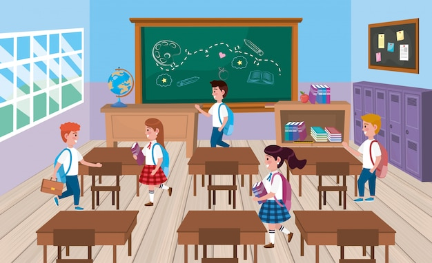 Meninas e meninos estudantes na sala de aula com quadro-negro