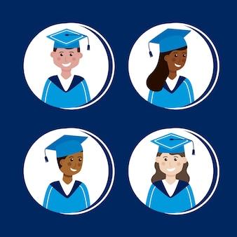 Meninas e meninos graduados
