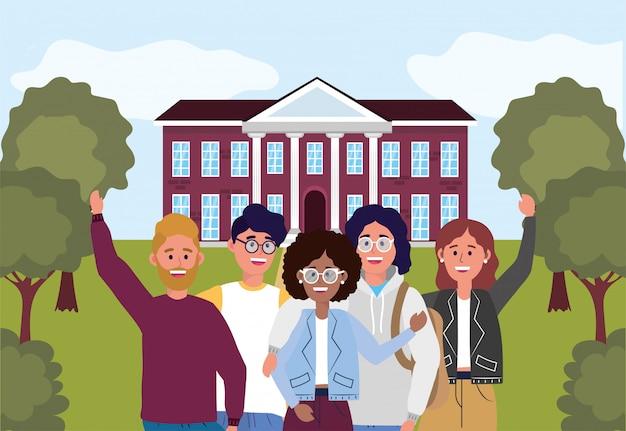 Meninas e meninos na universidade de educação para aprender