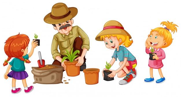 Meninas, e, pai, plantando árvore