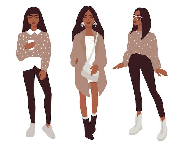 Meninas elegantes em roupas da moda.