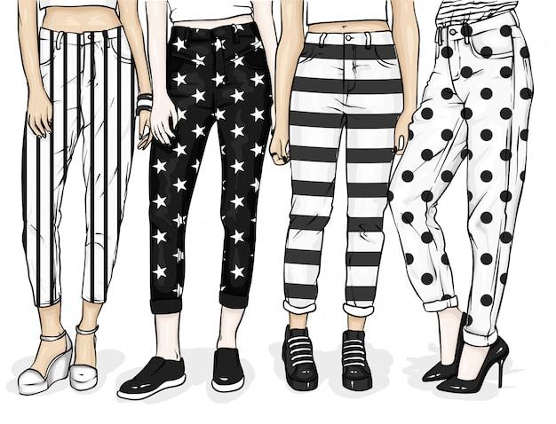 Meninas em elegantes jeans e sapatos. ilustração para um cartão postal ou um cartaz, impressão de roupas.