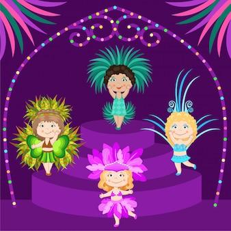 Meninas em fantasias de carnaval no palco.