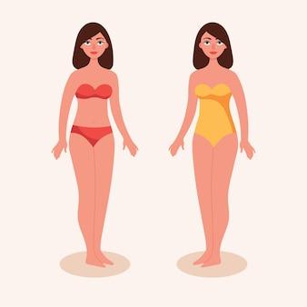 Meninas em trajes de banho. morena de mulher de biquíni. figura feminina em pleno crescimento. dois tipos de maiôs.