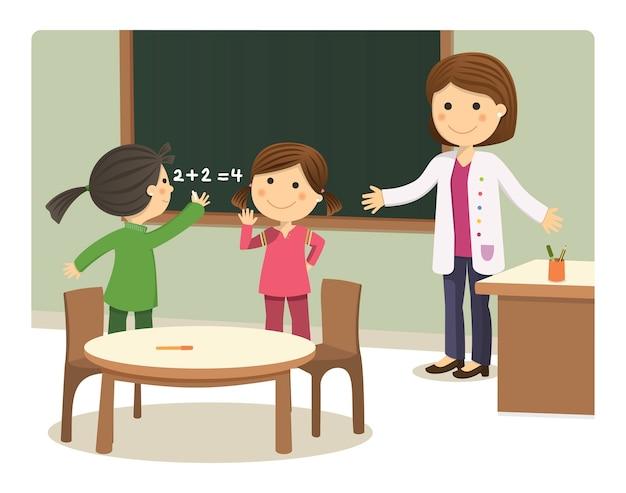 Meninas escrevendo no conselho do colégio com seu professor