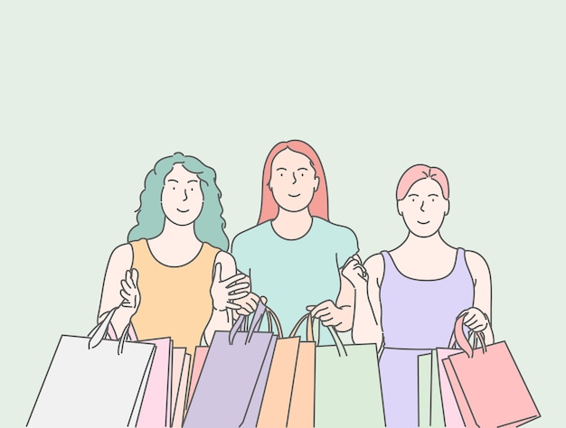 Meninas estão carregando uma sacola de compras