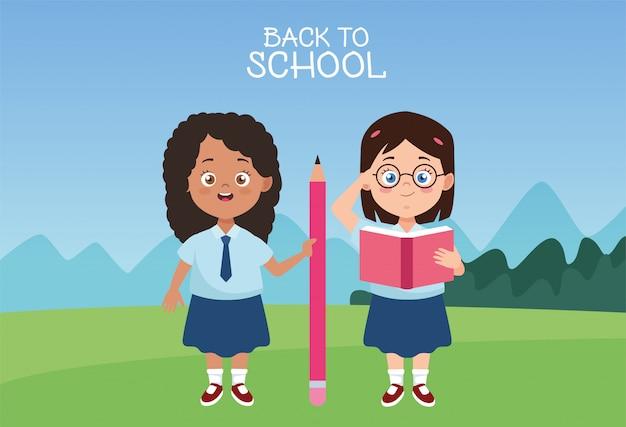 Meninas estudantes com personagens de uniformes