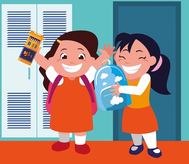 Meninas estudantes no corredor da escola com armários, volta às aulas