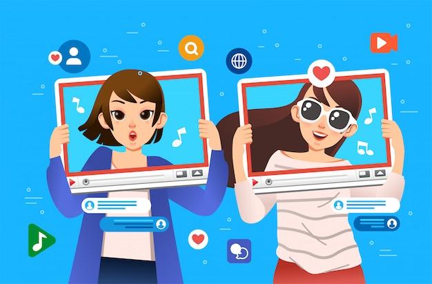 Meninas fazendo conteúdo para ilustração de mídia social
