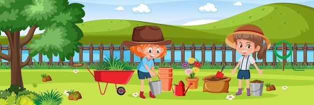Meninas fazendo jardinagem na natureza