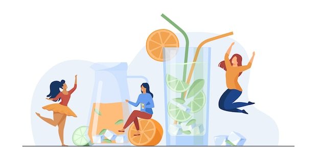 Meninas felizes bebendo limonada fresca