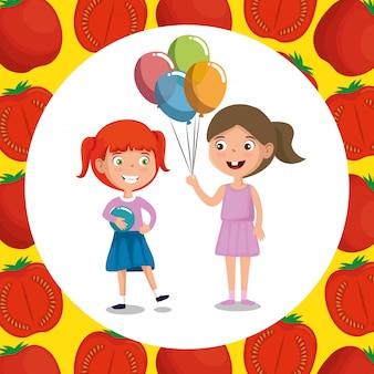 Meninas felizes com comida nutrição