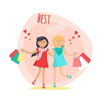 Meninas felizes com sacos de compras, amigos para sempre