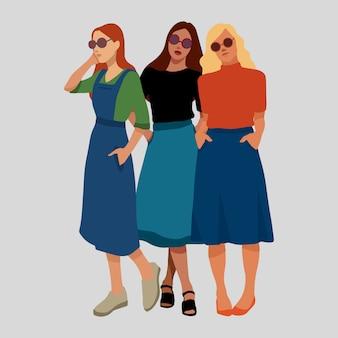 Meninas feminismo meninas poder ilustração vetorial