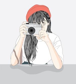 Meninas gostam de fotografia em um estilo de vida