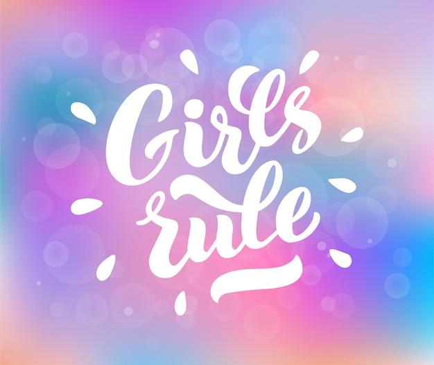 Meninas governam letras de vetor de mão desenhada girls rule letras de mão frase de slogan feminista