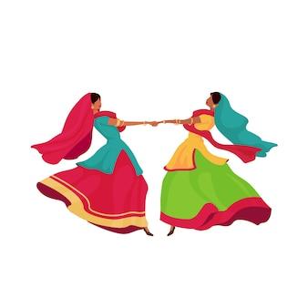 Meninas indianas em caráter sem rosto de sari cor plana